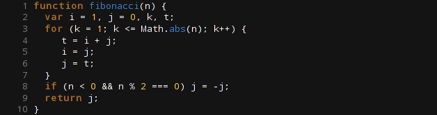Zmrok stellt Code mit Orange für Zahlen, Braun für Steuerungswörter und einem dunklen Blau für Funktionen dar. Textfarbe ist sonst ein helles Grau.